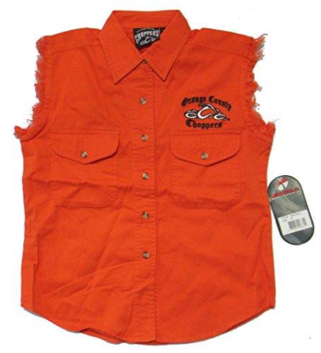 Orange County Choppers Embroidered OCC Biker Ladies Orange Denim Vest (L)