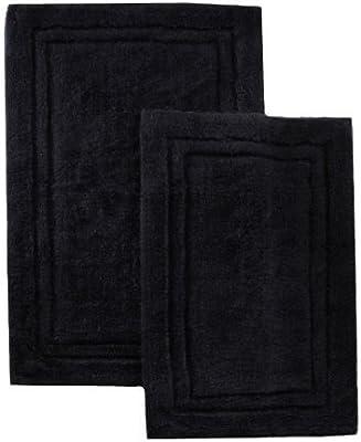 2 Pack Toallas algodón Alfombra de baño o Ducha Alfombra Negro por ...