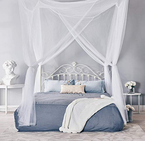 - Classical 4 Corners Post Bed Canopy Twin Full Queen King Mosquito Net (White)