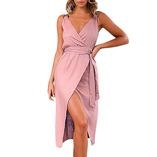 Thatso Women Sleeveless Mini Dress Ladies Summer Sexy V-Neck Belt Bandage Split Solid Tank Dresses (M, Pink)