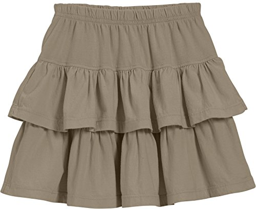 City Threads Big Girls' Cotton Jersey Layered Tiered Skirt For School, Party or Play Perfect For Sensitive Skin and Sensory Friendly SPD, Dark Khaki, 14