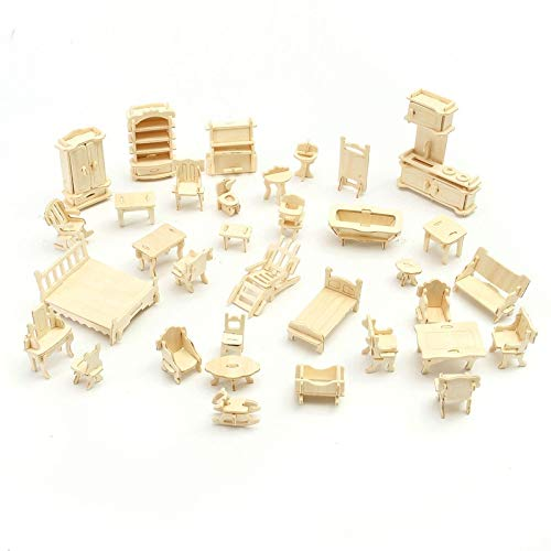 LoveInUSA 3D Wooden Dollhouse Furniture Puzzle DIY House Room Miniature Models Set Puzzle Gift for Kids ()