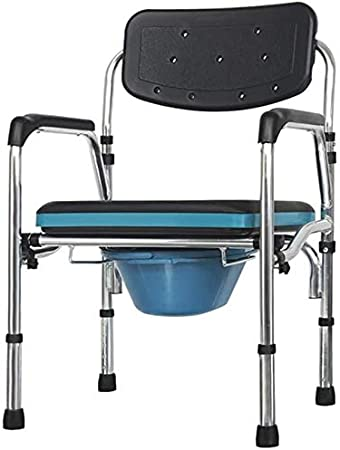 NDW Multi-Función higiénico doméstico de los Asientos, Ancianos Aseo aleación de Aluminio Asiento móvil Cómoda de la cabecera, Maternidad Silla WC Altura y Anchura Ajustable 0516 (Color : Black)