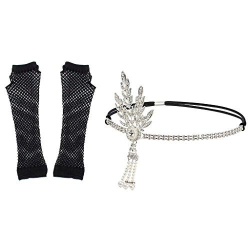 Price comparison product image B Blesiya 2x Crystal Gatsby Headband Fishnet Gloves Set Cocktail Party Rhinestone Hair Accessory