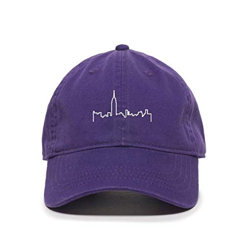 Baseball Cap for Men and Women NYC Skyline Embroidered Cotton Adjustable Dad Hat Purple