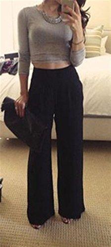 Pantalon Pantalons Palazzo Femme Pantalon Uni Spcial Trousers Elgante Style Jupe Automne Manche Pantalons Large Longues Taille Dunkelblau Bouffant Haute ww7r8OqA