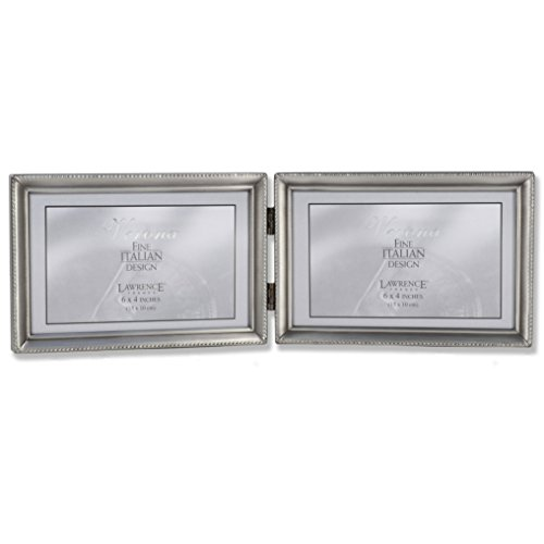 Silver Brushed Baby Frame (Lawrence Frames Antique Pewter 4x6 Hinged Double Horizontal Picture Frame - Bead Border Design)