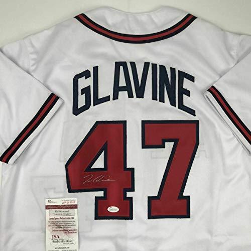 (Autographed Tom Glavine Jersey - White COA - JSA Certified - Autographed MLB Jerseys)
