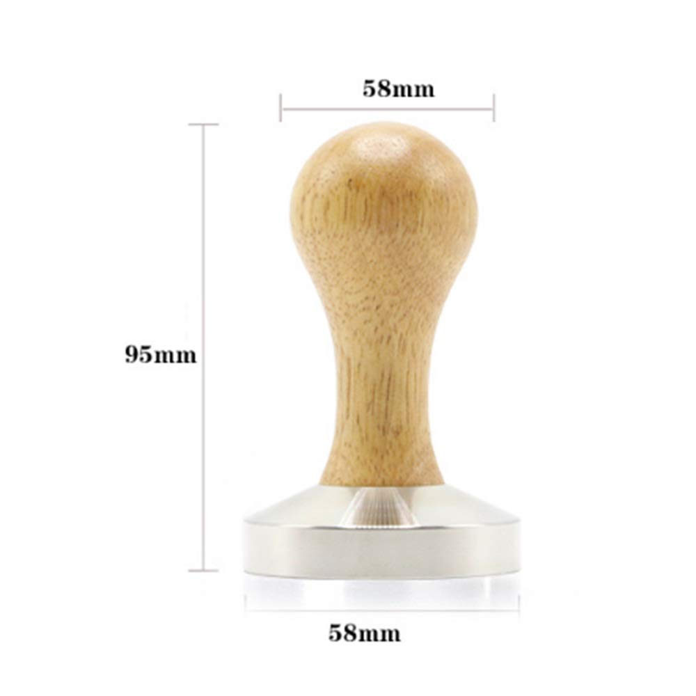Coffee Tamper, Stamping Plate: 58 Mm, Flat With Yellow Wooden Handle