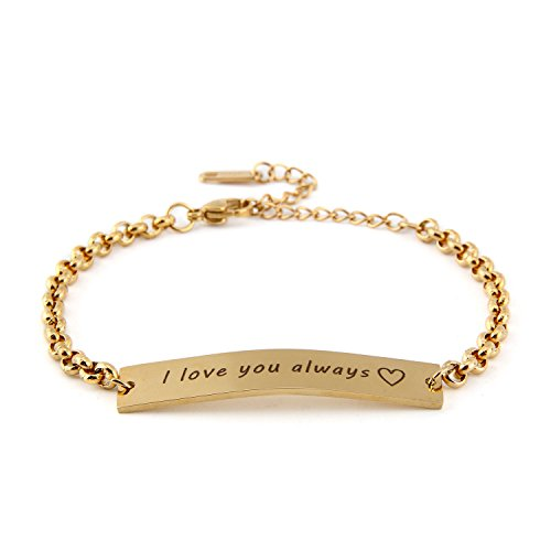 BBX JEWELRY Stainless Steel Gold-Plated Personalized Name Bracelets-Mama Bracelet-Gold Bar Bracelet-Custom Initial Bar-Gift for Wife