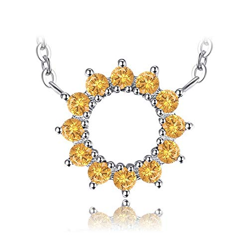 (CS-DB Silver Classic Round 0.5ct Orange Sapphire Solid Pendants Necklaces For Womens)