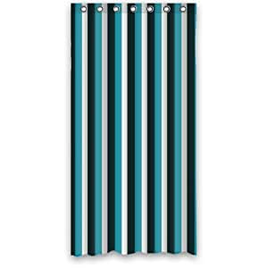 Best Custom Curtain - White,Black and Navy Stripe 100% Polyester Waterproof Shower Curtain 36 x 72