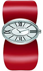 Valentino Women's V43MBQ9902S800 Seduction Oval Stainless Steel Red Leather Watch