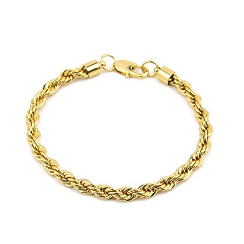 - Molyveva Men Women Jewelry 18K Gold Silver Cuban Link Cuff Bracelet Hollow Rope Chain Charm Bracelets (Gold)
