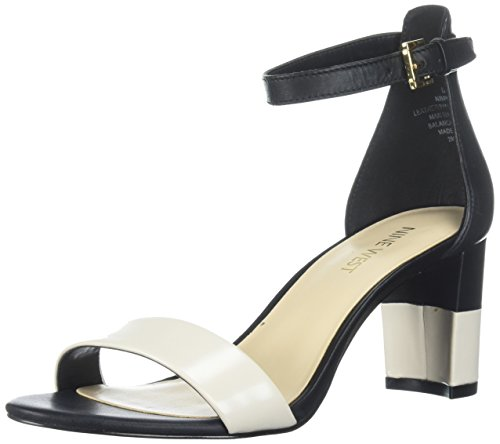 Nine West Women's Pruce Leather Sandal Black/Off White discount cheap YSvueOY
