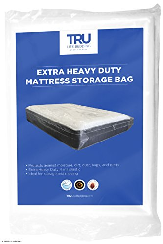 (TRU Lite Mattress Storage Bag - Mattress Bag for Moving - Heavy Duty Extra Thick 4 Mil Plastic - Fits Standard, Extra Long, Pillow Top Sizes - Twin Size)