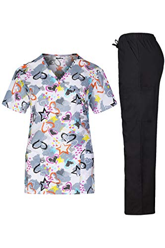 MedPro Women's Printed Medical Scrub Set Mock Wrap Top and Pants White Black M (Wrap Mock Paisley)