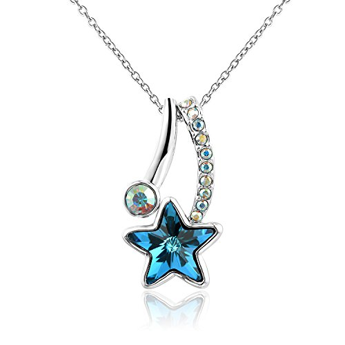 Canmiya White Gold Plated Alloy Star Pendant Necklace with Swarovski Elements Crystal