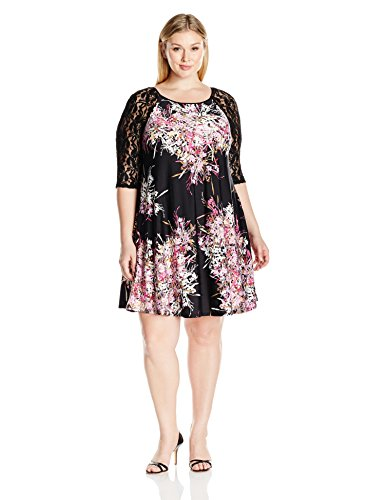 Julian Taylor Women's Plus Size 3/4 Lace Sleeve Trapeze D...