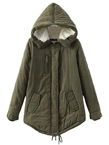 Pure Hooded Green Velvet Women Howme Warm Pocket Mid Army Long Outwear Jacket Zip Color p8BpRa