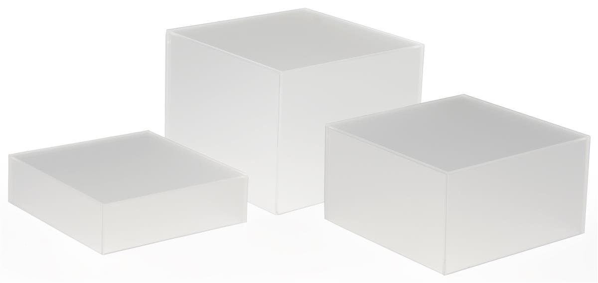 Displays2go Stacking Display Cubes Nesting with 1 Large, 1 Medium, 1 Small Stand (Set of 3), Frosted White by Displays2go (Image #1)