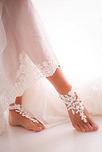 - Ivory Lace Barefoot Sandals, Bridal accessory, Nude shoes, Foot thongs, French Lace, Sexy, Beach wedding Anklet, bottomless shoes