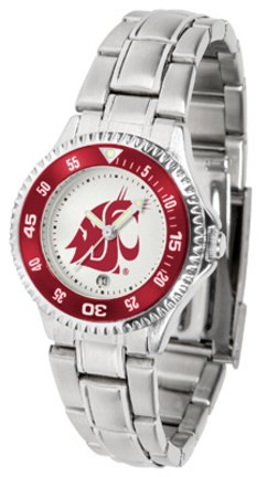 SunTime Washington State Cougars Competitor Ladies Watch with Steel Band