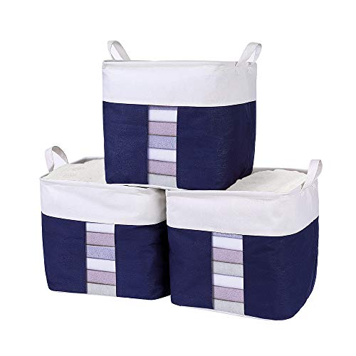 "Inuan 3 Pack Storage Basket Bins Set with Clear Window Carry Handles, Waterproof Cube Cotton Linen Collapsible Organizer Bin 12.6"" L x 12.6"" W x 12.6"" H inch for Home Office Closet (Cube Grey - 3pcs)"