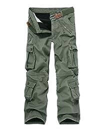 Crazy Men's Winter Fleece Lined Military Cargo Pants Casual Outdoor Pants