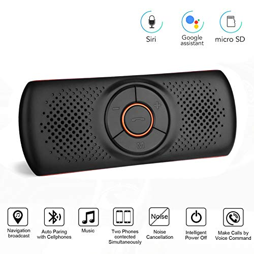 (Aigoss Portable Bluetooth Car Speakerphone, T826 Stereo Sound Enhanced Bass/Built-in Mic/TF Card Player/FM Transmitter/Siri & Google Assistant, AUX Hands Free Calling with Wireless in Car or at Home)