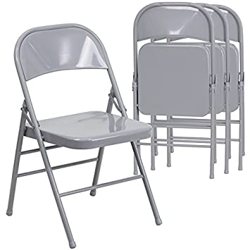 Flash Furniture 4 Pk. HERCULES Series Triple Braced U0026 Double Hinged Gray  Metal Folding Chair