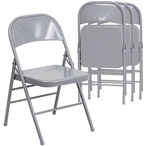 Amazon.com: Flash Furniture 4 Pk. HERCULES Series Triple Braced U0026 Double  Hinged Gray Metal Folding Chair: Kitchen U0026 Dining