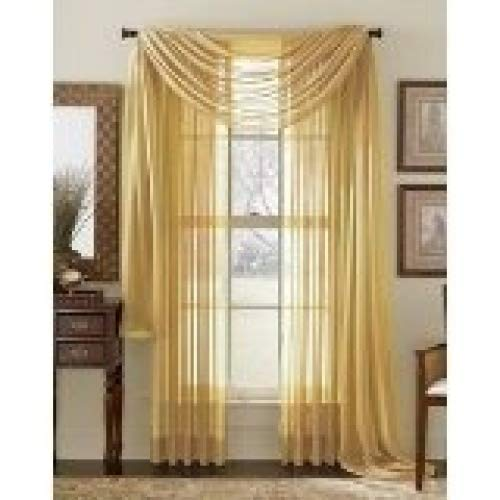 MONAGIFTS 2 PANELS GOLD Sheer Voile Window Panel curtains 59 WIDTH X 84 LENGTH EACH PANEL MONAGIFTS SHEER CURTAIN