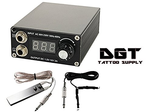 DGT Digital LCD Tattoo Power Supply,Foot Pedal and Clip cord