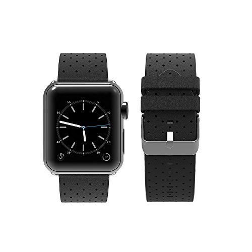 top4cus Genuine Leather iwatch Strap Replacement Band Stainless Metal Clasp, Compatible for 38mm 42mm Apple Watch Series 3 S2 S1 and Sport Edition?38mm/40mm, Breathable Black