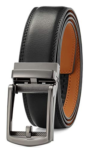 Men's Belt Ratchet Dress Belt with Automatic Buckle Brown/Black-Trim to Fit-35mm -
