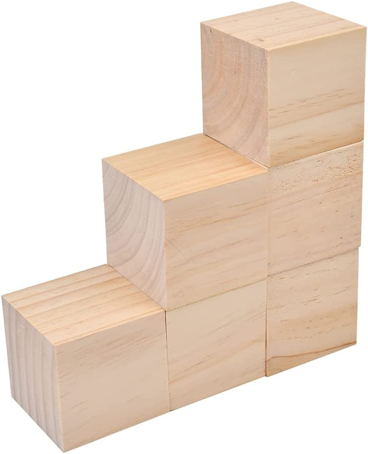 3 Inch Wooden Cubes, 6-Pack Unfinished Wood Blocks for Wood Crafts, Small Wooden Cubes, Wood Square Blocks, Great for Baby Showers, Puzzle Making, Crafts, and DIY Projects
