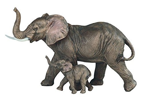 StealStreet SS-G-54399 Elephant Mom Standing with Baby Cub Statue Figurine, (Standing Statue Figurine)