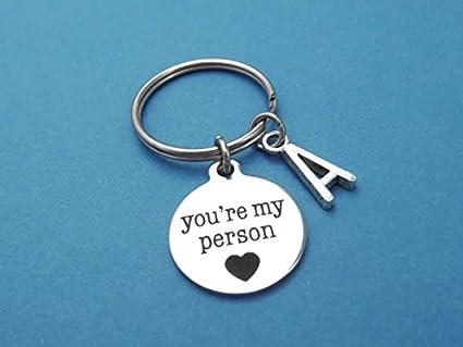 Llavero personalizable, letra, inicial, eres mi persona ...