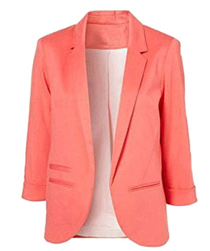 Face N Face Women's Cotton Rolled Up Sleeve No-Buckle Blazer Jacket Suits (Peaches Cardigan Style Jacket)