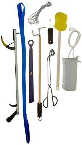 Hip Kit (Sammons Preston Deluxe Hip/Knee Kit, Premium Recovery Kit Total Knee or Hip Surgery, Includes Reacher, Leg Lifter, Sock Aid, Shoehorn, Toilet Aid, Dressing Stick, Button Hook, Shoelaces, & Sponge)