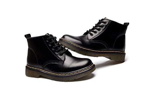 cabeza women kuki de mujer botas plana baja botas diseño bright ayudar redonda encaje a black inferior tubo británico Martin zapatos de botas corto parte SOxrqwIdTO