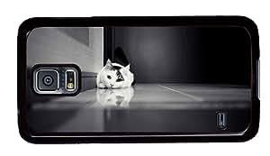 Hipster Samsung S5 original cases lying cat monochrome PC Black for Samsung S5