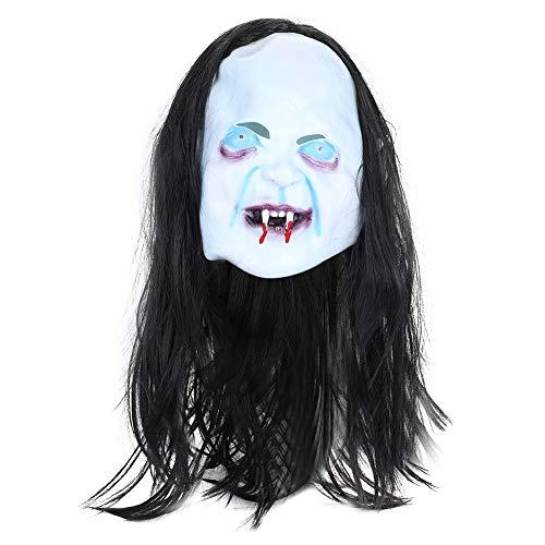 Zombie Mask Wig Women Halloween Horror Grimace Ghost Mask Scary Emulsion ()