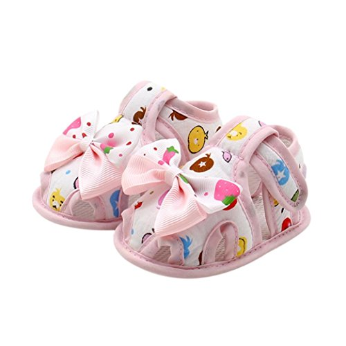 Tenworld Cute Infant Baby Girls Summer Soft Sole Anti-slip Sandals Shoes (12CM, Pink)