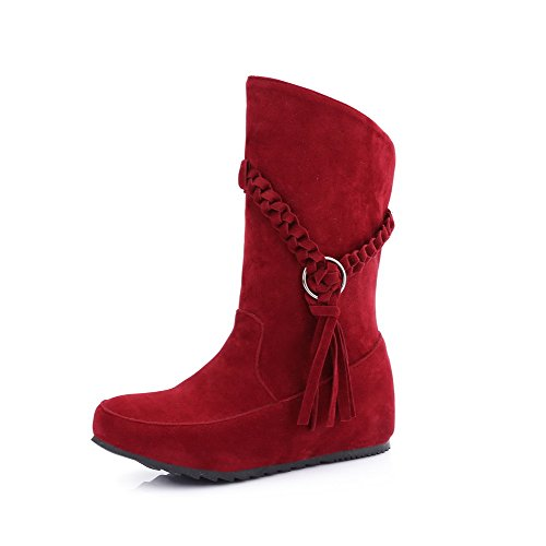 AgooLar Women's Frosted Pull-On Round Closed Toe Low-Heels Low-Top Boots Red MsyIryLq0