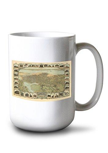 Ca Panoramic Map - Lantern Press Oakland, California Panoramic Map (15oz White Ceramic Mug)