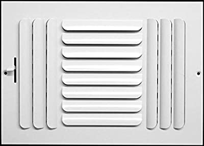 "12""w x 6""h 3-Way Fixed Curved Blade AIR Supply Diffuser - Vent Duct Cover - Grille Register - Sidewall or Ceiling - High Airflow - White"