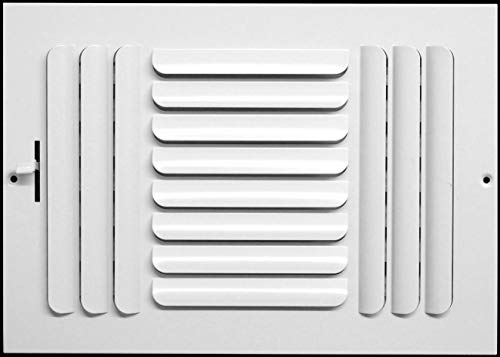 12w x 6h 3-Way Fixed Curved Blade AIR Supply Diffuser - Vent Duct Cover - Grille Register - Sidewall or Ceiling - High Airflow - White