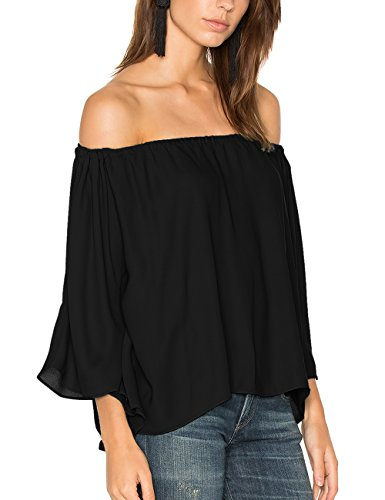 ALLY-MAGIC Womens Chiffon Off Shoulder Tops Short Sleeves Shirts Casual Strapless Blouses